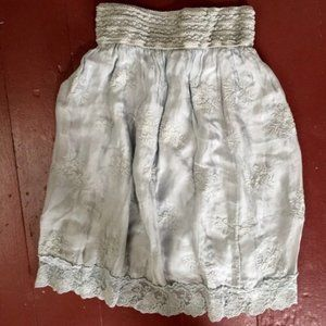 NEW Anthropologie Nicole Silk Embroidered Skirt